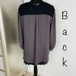 Daniel Rainn XL Brown Black Long Sleeve Lace Top